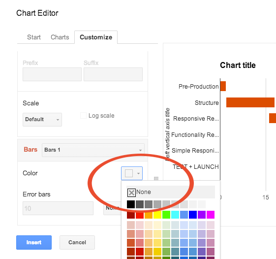 How to create a simple gantt chart with google sheets hello techo finally change the first bar set color to none ccuart Choice Image